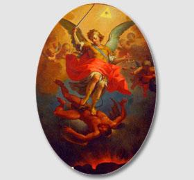 Decoro centrale della cappella (tela raffiguante San Michele Arcangelo opera di Pietro Paolo Operti 1776)